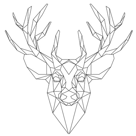 cabeza de animal icono triangular, diseño de la línea de moda geométrica. Ilustración del vector lista para el tatuaje o libro para colorear. Pista de los ciervos - triangular.