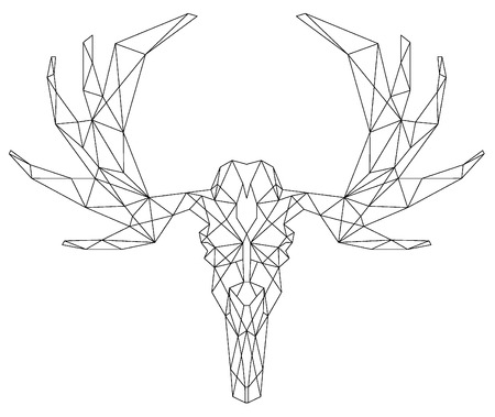 faced: Animal scull triangular icon , geometric trendy line design. Vector illustration ready for tattoo or coloring book. Deer head  - triangular.