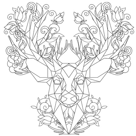 head profile: Front view of animal head triangular icon , geometric trendy line design. Vector illustration ready for tattoo or coloring book.Deer.