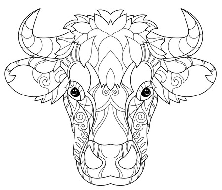 Hand drawn doodle outline cow head decorated with ornaments.Vector zentangle illustration.Floral ornament.