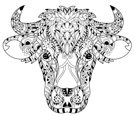 buey: Mano doodle cabeza de vaca contorno decorado con ornaments.Vector ornamento illustration.Floral zentangle.