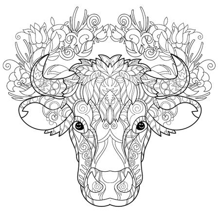 Mano doodle cabeza de vaca contorno decorado con ornaments.Vector ornamento illustration.Floral zentangle. Ilustración de vector