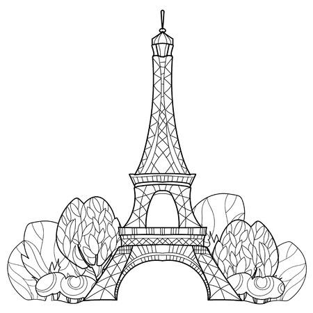 Arte Zen Estilizada Torre Eiffel Dibujados A Mano