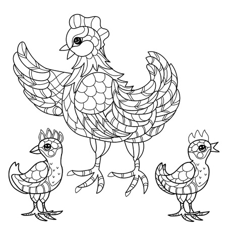 chiken: Hen with chiken. Hand drawn decorative farm animal.Zentangle Vector illustration. Sketch for tattoo or coloring. Illustration