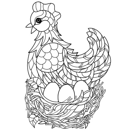 chiken: Hen on nest. Hand drawn decorative farm animal.Zentangle Vector illustration. Sketch for tattoo or coloring.