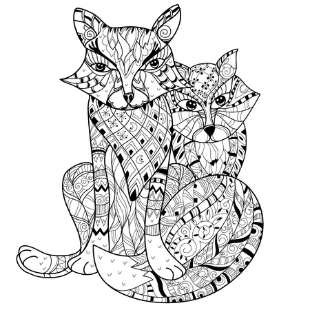Hand drawn doodle outline fox decorated with ornaments.Vector zentangle illustration.Floral ornament.Sketch for tattoo or coloring pages.
