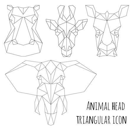 Animal head triangular icon , geometric trendy line design. Vector illustration ready for tattoo or coloring book. Animal Africa - elephant, giraffe, hippopotamus, rhinoceros