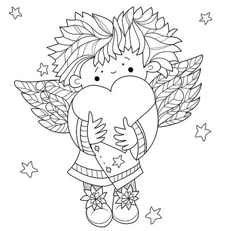 valentin: Cute angel heart Valentin doodle.