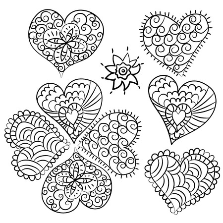 valentin: Cute heart Valentin doodle set.