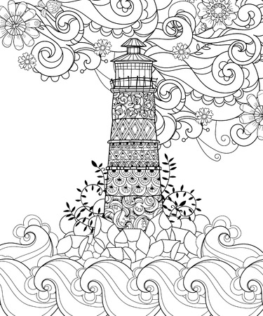 lighthouse beam: Hand drawn doodle outline lighthouse decorated with floral ornaments.