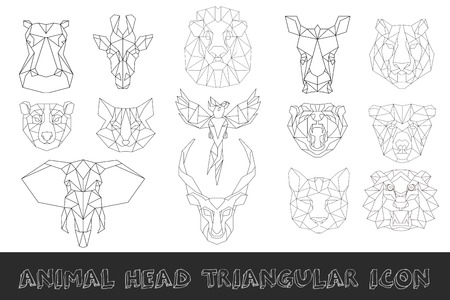 polygons: Front view of animal head triangular icon set, geometric trendy line design. illustration for tattoo or coloring book.Africa collection Illustration