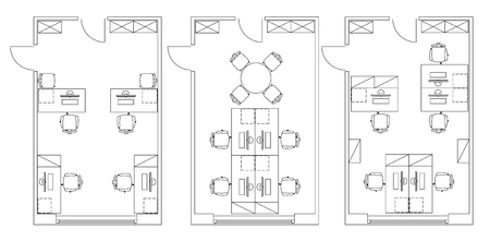 floorplan: Standard furniture symbols used in architecture plans icons set, office planning icon set, graphic design elements. Small Office room - top view plans. Illustration