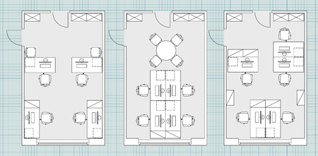 table sizes: Standard furniture symbols used in architecture plans icons set, office planning blueprint, graphic design elements. Small Office room - top view plans.