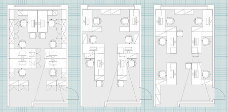 Büromöbel grafik  Standard-Möbel Symbole In Architektur Plant Icons Set, Büroplanung ...