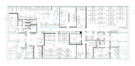 floorplan: Standard office furniture symbols set used in architecture plans, office planning icon set, graphic design elements. Small Office room - top view plans.