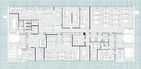 Standard furniture symbols used in architecture plans icons set, office planning blueprint, graphic design elements. Small Office room - top view plans.