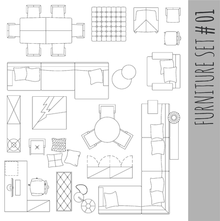 Standard furniture symbols used in architecture plans icons set, graphic design elements,home planning icon set.Living room - top view symbols. Vector isolated.