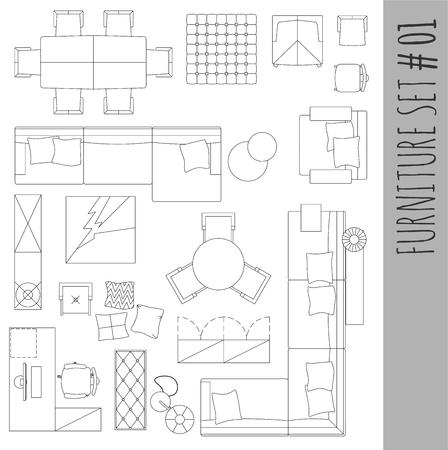 Standaard inrichting symbolen gebruikt in de architectuur is van plan iconen set, grafisch ontwerp elementen, thuis planning icon set.Living kamer - bovenaanzicht symbolen. Vector geïsoleerd.