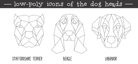 Front view of dog head triangular icon set, geometric trendy line design. Vector illustration for tattoo or coloring book.Home animal collection.Staffordshire terrier, Beagle, Labrador.
