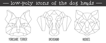 huskies: Front view of dog head triangular icon set, geometric trendy line design. Vector illustration for tattoo or coloring book.Home animal collection.Yorkshire terrier, dachshund, huskies.