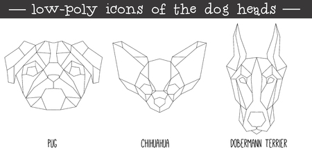 Front view of dog head triangular icon set, geometric trendy line design. Vector illustration for tattoo or coloring book.Home animal collection.Pug, chihuahua, Dobermann terrier.