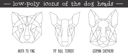 Front view of dog head triangular icon set, geometric trendy line design. Vector illustration for tattoo or coloring book.Home animal collection.Akita, pit bull terrier, German shepherd.