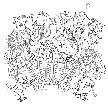 Hand drawn doodle outline easter eggs in basket with chicken decorated with ornaments.Vector illustration.Floral ornament.Sketch for adult coloring pages or postcards.Boho style.