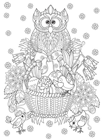 chiken: Hand drawn doodle outline easter eggs in basket with chiken and owl decorated with ornaments.Vector illustration.Floral ornament.Sketch for adult coloring pages or postcards.Boho style.