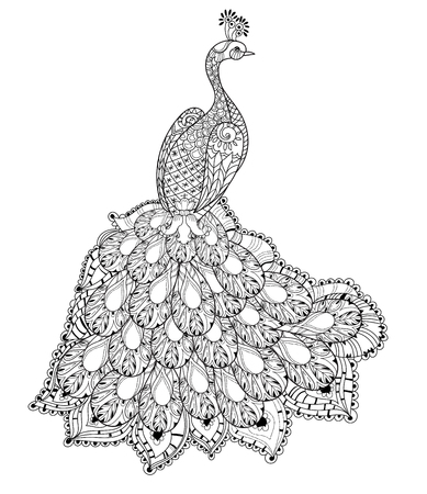 extravagant: stylized peacock Hand Drawn vector illustration. Sketch for tattoo or makhenda. Bird collection boho style.