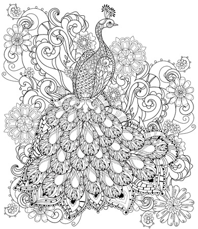 black: stylized peacock Hand Drawn vector illustration. Sketch for tattoo or makhenda. Bird collection boho style.