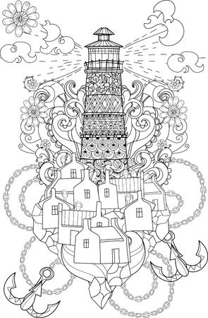 Hand Drawn Doodle Outline Lighthouse Decorated With Floral OrnamentsVector IllustrationFloral Ornament