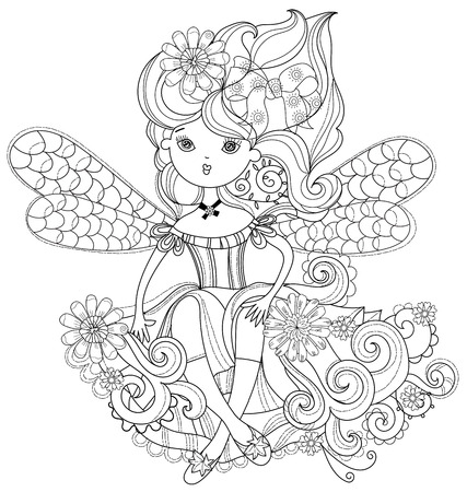 Vector cute fairy girl in flowers.Vector line illustration.Sketch for postcard or print or coloring adult book.Boho zentangle style.