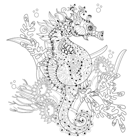 Hand drawn doodle outline seahorse decorated with ornaments.Floral ornament.Sketch for tattoo or coloring pages.Boho style.