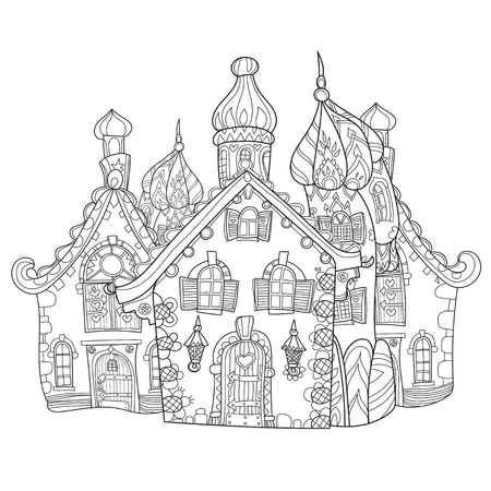 Cute fairy tale town doodle.Vector line illustration.Sketch for postcard or print or coloring adult book. Illustration