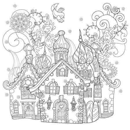 fable: Cute fairy tale town doodle illustration.Sketch for postcard or print or coloring adult book.