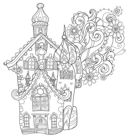 color book: Cute fairy tale town doodle illustration.Sketch for postcard or print or coloring adult book.