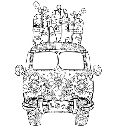 70s adult: Hand drawn doodle outline retro bus travel decorated with ornaments front view.Floral ornament.Sketch for tattoo or coloring pages.Boho style. Illustration