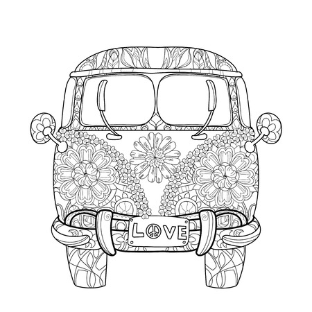 woodstock: Hand drawn doodle outline retro bus travel decorated with ornaments front view.Floral ornament.Sketch for tattoo or coloring pages.Boho style. Illustration