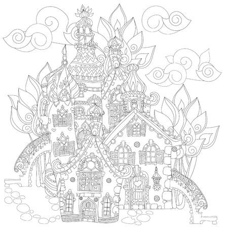 Vector Lindo Cuento Línea Doodle.Vector Ciudad Illustration.Sketch ...
