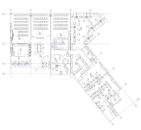 Standard kantoormeubilair opgenomen symbolen gebruikt in de architecturale plannen, kantoor planning icon set, grafisch ontwerp elementen. Small Office room - bovenaanzicht plannen.