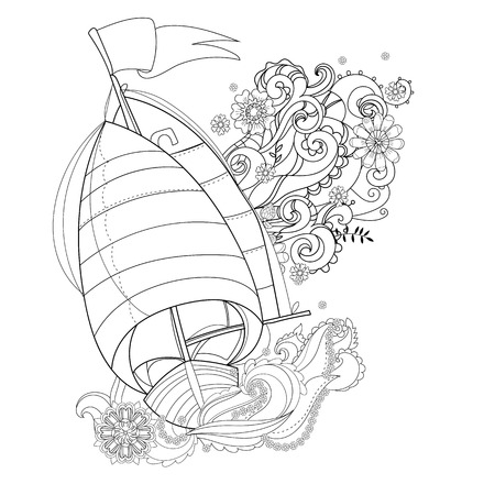 Hand drawn doodle outline  boat decorated with floral ornaments.Floral ornament.Sketch for tattoo, poster or adult coloring pages.Boho style.