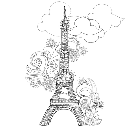 Stylized Eiffel Tower Hand Drawn Illustration. Sketch For Tattoo Or ...