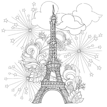 stylized Eiffel tower Hand Drawn illustration. Sketch for tattoo or makhenda. France collection.Boho style