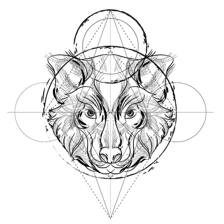 Animal head triangular icon , geometric trendy line design. Vector illustration ready for tattoo or coloring book. Wolf head low-poly sketch hand drawn Иллюстрация