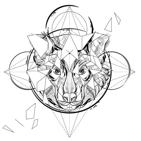 Animal head triangular icon , geometric trendy line design. Vector illustration ready for tattoo or coloring book. Wolf head low-poly sketch hand drawn Ilustração