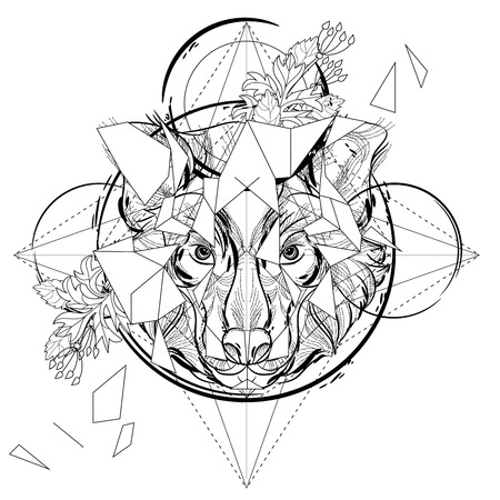 Animal head triangular icon , geometric trendy line design. Vector illustration ready for tattoo or coloring book. Wolf head low-poly sketch.