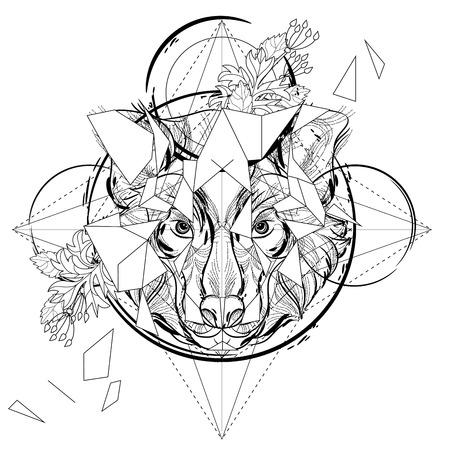 cabeza de animal icono triangular, diseño de la línea de moda geométrica. Ilustración del vector lista para el tatuaje o libro para colorear. Cabeza de lobo esbozo de baja poli.
