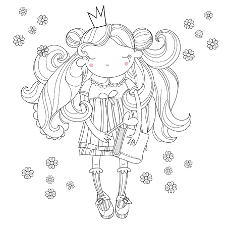 top model: Vector cute princess fairy girl in crown.Vector line illustration.Sketch for postcard or print or coloring adult book.Hand drawn free style.