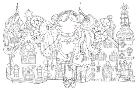 charmed: Vector cute princess fairy girl with wings in flower crown.Old fairy town city view.Vector line illustration.Sketch for postcard or print or coloring adult book.Hand drawn free boho style.