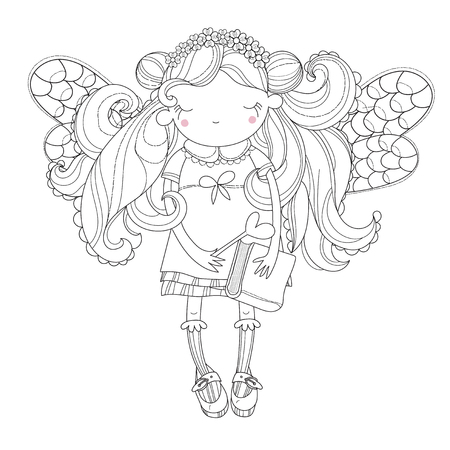 top model: Vector cute princess fairy girl with wings in flower crown.Vector line illustration.Sketch for postcard or print or coloring adult book.Hand drawn free style. Illustration